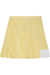 N 21 Pleated Cotton Blend Lace Mini Skirt Pastel Yellow