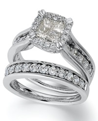 Macy's Princess Treasures Princess Cut Diamond Bridal Set In 14K White Gold 2 Ct. T.W.