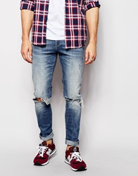 New Look Authentic Ripped Skinny Jeans Airforce