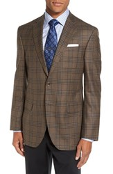 David Donahue Men's Big And Tall 'Connor' Classic Fit Plaid Wool Sport Coat Light Brown