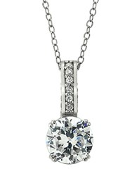 Lord And Taylor Sterling Silver Cubic Zirconia Solitaire Pendant Necklace