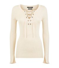 Set Lace Up Ribbed Top Female Cream