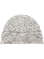 Lanvin Ribbed Knit Beanie Grey