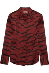 Ganni Iona Printed Stretch Silk Satin Shirt Zebra Print