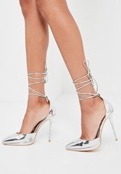 Missguided Silver Lace Up Court Shoes