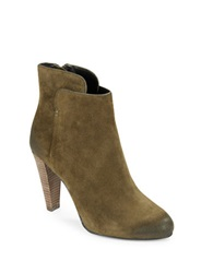 Elie Tahari Daryn Suede Ankle Boots Olive