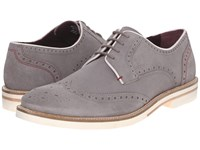 Ted Baker Archerr 2 Light Grey Suede Men's Lace Up Wing Tip Shoes Gray