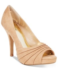 Thalia Sodi Marissa Ruched Platform Pumps Only At Macy's Women's Shoes Camel