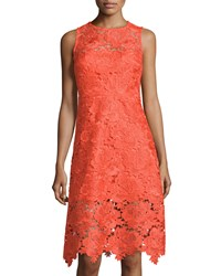Julia Jordan Illusion Trim Lace Sleeveless Dress Orange