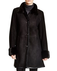 Maximilian Shearling Coat With Mink Collar And Cuffs Black Ranch