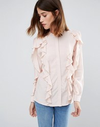 Warehouse Ruffle Blouse Pink