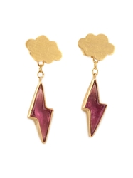 Marie Helene De Taillac Cloud And Pink Tourmaline Lightning Bolt Earrings Metallic