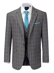 Skopes Atticus Check Notch Collar Tailored Suit Jacket Grey
