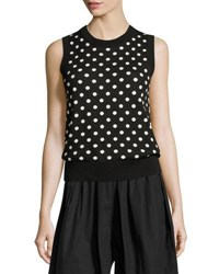 Marc Jacobs Striped And Dot Sleeveless Sweater Black White