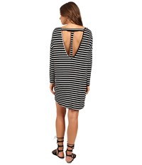 Culture Phit Vienna 3 4 Sleeve Striped Dress Black Ivory Women's Dress