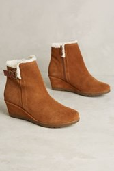 Anthropologie Shearling Lined Wedge Booties Honey