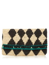 Sensi Studio Rombos Woven Diamond Straw Clutch Black Beige