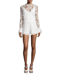 Alexis Yumi Long Sleeve Lace Romper White Size Xs White Floral Sequ
