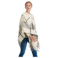 Joules Innis Check Print Wrap Cream Grey