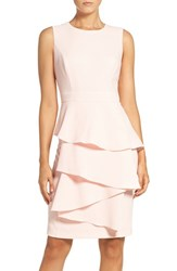 Eliza J Women's 'Ella' Cascade Crepe Sheath Dress Blush