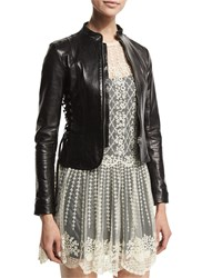 Red Valentino Fitted Lace Up Leather Jacket Black