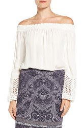 Kobi Halperin Women's 'Karalee' Lace Cuff Silk Off The Shoulder Blouse