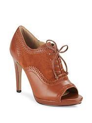 Saks Fifth Avenue Kembra Suede And Leather Peep Toe Brouge Pumps Dark Almond