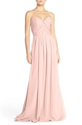 Women's Hayley Paige Occasions Strapless Crinkle Chiffon A Line Gown Petal