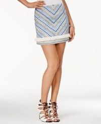Guess Embroidered Fringe Mini Skirt Macadamia Wild Blue Multi