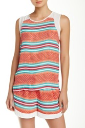 Romeo And Juliet Couture Print And Solid Trim Tank Pink