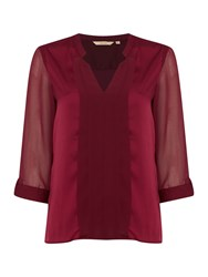 Salsa Greece 3 4 Sleeve Roll Up Blouse Red