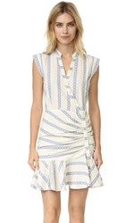 Veronica Beard Piece And Co Ruched Shirtdress Off White Blue