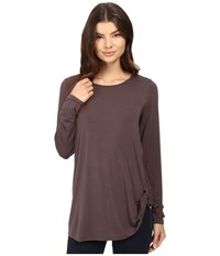 Heather Twist Front Long Sleeve Top Oak Women's Clothing Brown