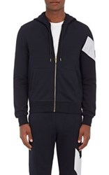 Moncler Gamme Bleu Men's Stripe Detail Cotton Zip Front Hoodie Navy White No Color Navy White No Color