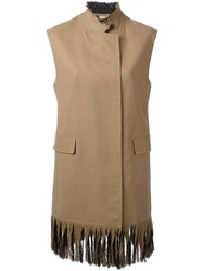 3.1 Phillip Lim Long Fringed Gilet Nude And Neutrals