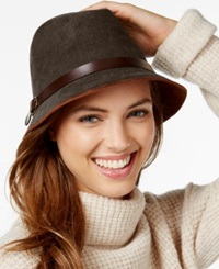 Collection Xiix Faux Suede And Buckle Trim Fedora Dark Roast