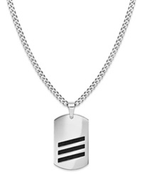 Sutton By Rhona Sutton Men's Stainless Steel Striped Dog Tag Pendant Necklace