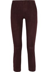 Vince Cropped Suede Leggings Brown