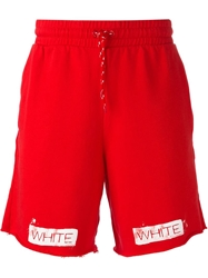 Off White Drawstring Shorts Red