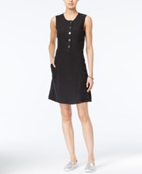 Armani Exchange A Line Button Detail Dress Solid Black