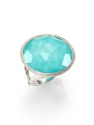 Ippolita Stella Turquoise Clear Quartz Diamond And Sterling Silver Large Lollipop Doublet Cocktail Ring