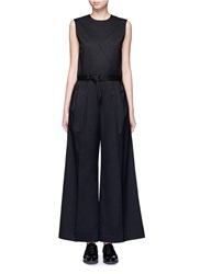 Hyke 'Work' Belted Wide Leg Wool Jumpsuit Black