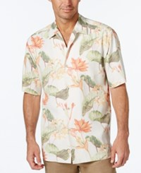 Tommy Bahama Men's Tropical Lilies Floral Print Short Sleeve Silk Shirt Continental