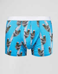 Asos Trunks With Sloth Print In Microfibre Blue