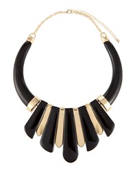 Kenneth Jay Lane Graduated Spike Collar Necklace Black Gold