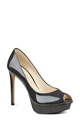 Nine West Women's 'Edyln' Platform Peep Toe Pump Dark Grey Faux Patent