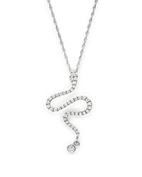 Bloomingdale's Diamond Snake Pendant Necklace In 14K White Gold .20 Ct. T.W.