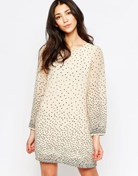 Yumi Long Sleeve Shift Dress In Spot Print Cream Multi