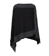 Armani Jeans Fringe Trim Poncho Female Black