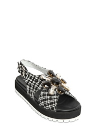 Ioannis 30Mm Jeweled Cotton Boucle Sandals Black White